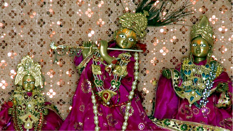 Unchagaon Deities with Lalita-Devi on the right side of Krsna