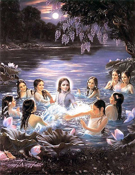 the gopis and Krsna entered the water of the Yamuna